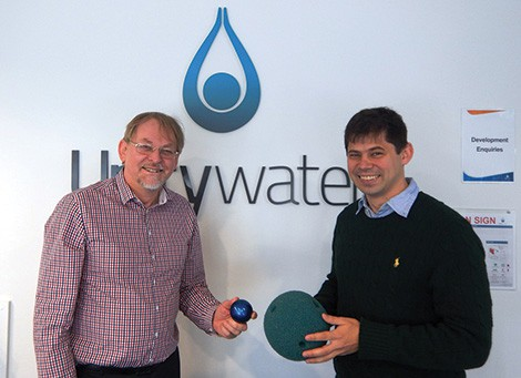 Unitywater executive manager infrastructure, planning and capital delivery, Simon Taylor and asset performance engineer, Keir Anderson with the Smartball.