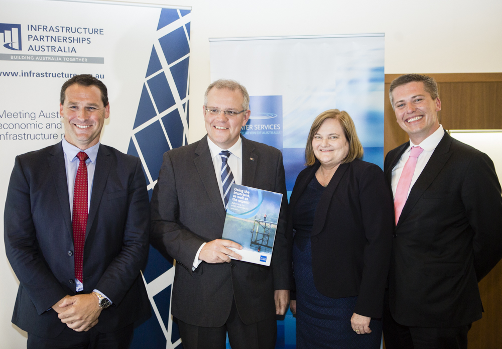 Adam Lovell, Executive Director WSAA; Treasurer The Hon Scott Morrison MP; Louise Dudley, WSAA Chair and Chief Executive Officer Queensland Urban Utilities; and Brendan Lyon, Chief Executive Infrastructure Partnerships Australia at the report launch.