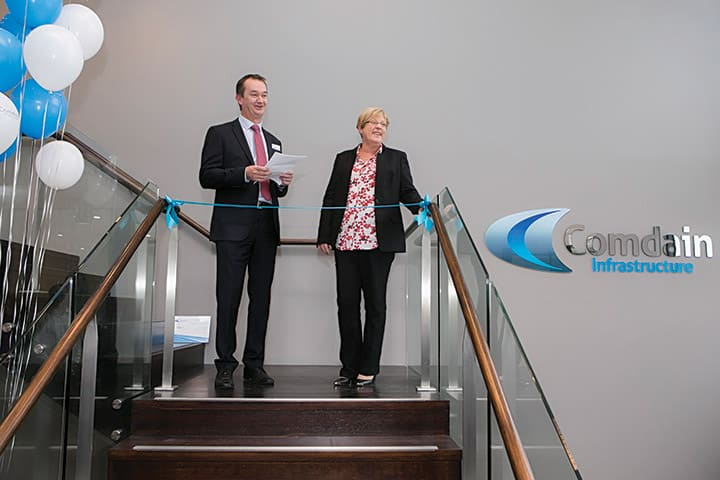 Peter Coen and Lisa Neville at the opening of Comdain's new head office.