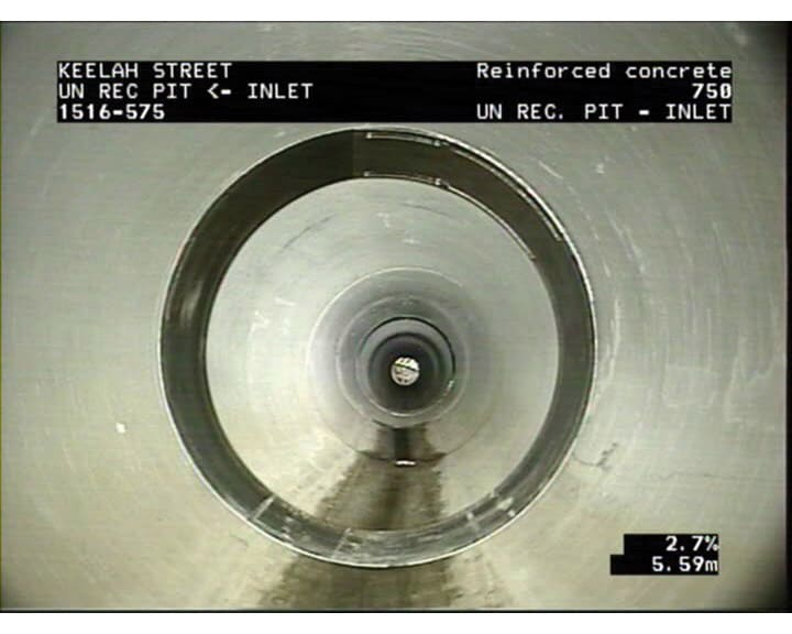 CCTV footage from inside a rehabilitated drain.