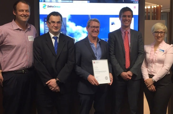 Chris Kennedy (Test and Commission Manager, Zinfra), Jim Modrouvanos (Asset Standards Authority Executive Director, TfNSW), Steven MacDonald (Managing Director, Zinfra Group), Andrew O'Neill (Operations Manager, Zinfra Program Wo