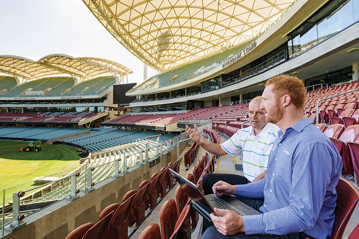 Stadium Management Authority's General Manager for Commercial Operations Darren Chandler, and SA Water's Business Technical Lead Consultant Cameron Baldock.