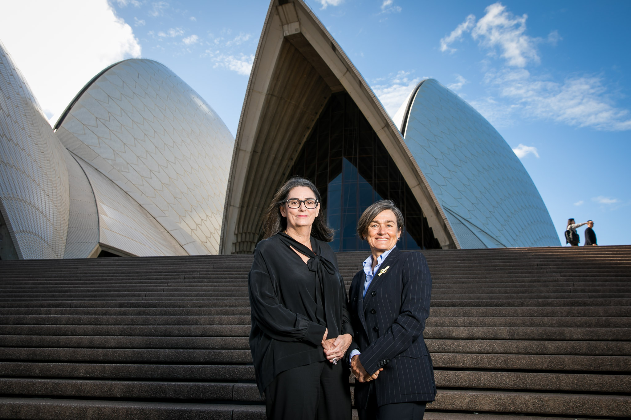 (L-R) Catherine Tanna, Energy Australia MD Louise Herron, Sydney Opera House CEO at the Sydney Opera House on April 5, 2017 in Sydney, Australia.  (Photo by Anna Kucera)