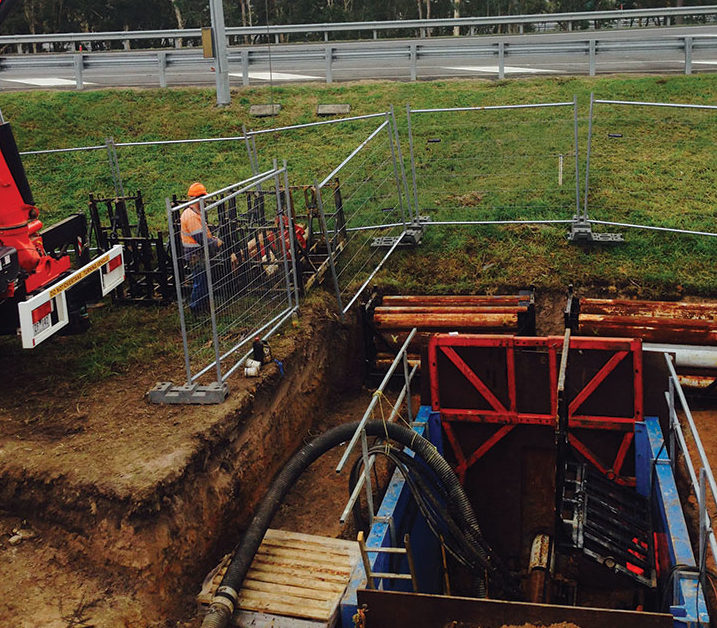 Microtunnelling operates within a smaller site footprint than traditional open-cut methods.
