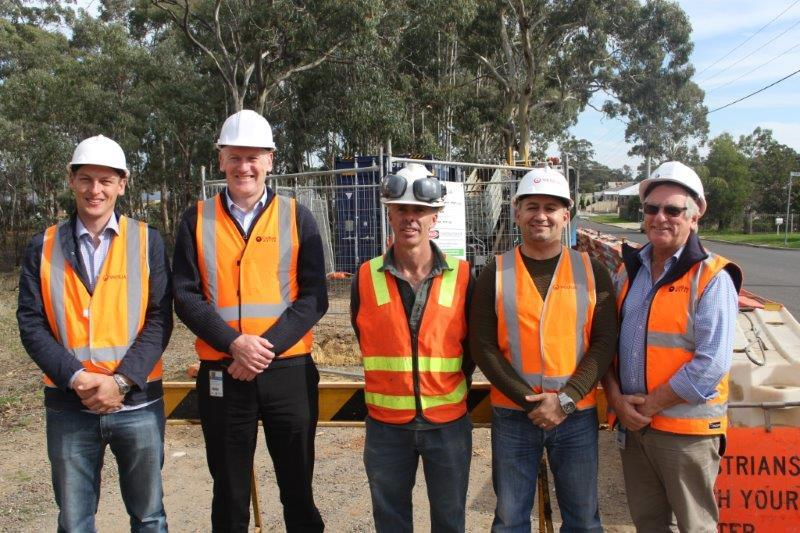 From left: Veolia Project Manager Kane Walsh, Veolia Market Development Manager Network Services Ziad Bushnaq, Coliban Water General Manager Water Quality Performance & Regulation David Sheehan, R &R McClure Excavations Tim McClure and, Coliban Water Project Manager Graham McDonald.