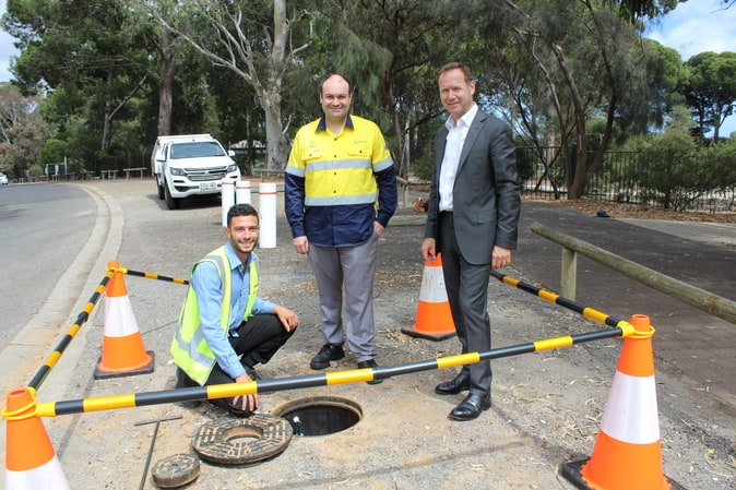 Allwater Smart Networks Technician Adrian Cavallaro, SA Water Lead Planner of Wastewater Assets Craig Williamson, SA Water Chief Executive Roch Cheroux. Image provided by SA Water.
