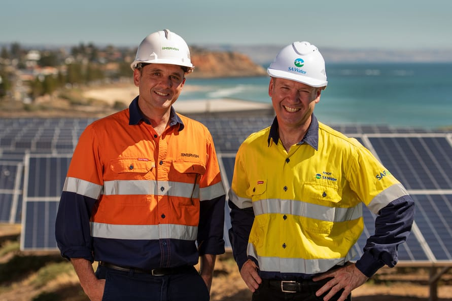 Roch Cheroux, CEO SA Water, with staff at at Christies Beach water treatment works. Pic Ben Searcy 2/1/2019