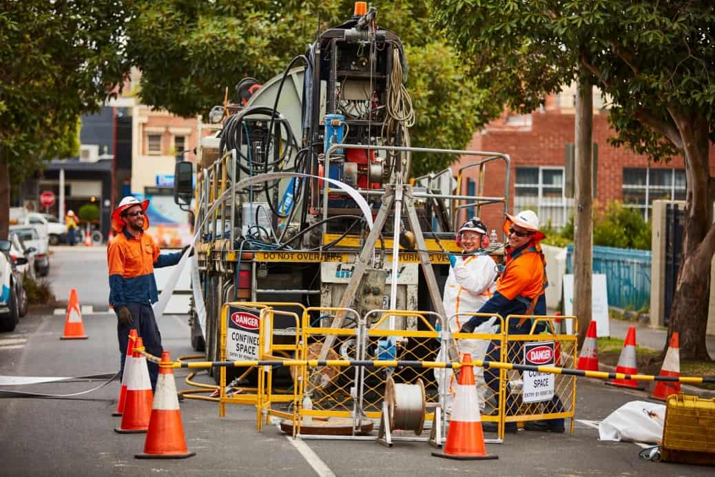 Interflow crews working on the combined Sewer and Stormwater Pipe Rehabilitation Project for Gladstone City Council