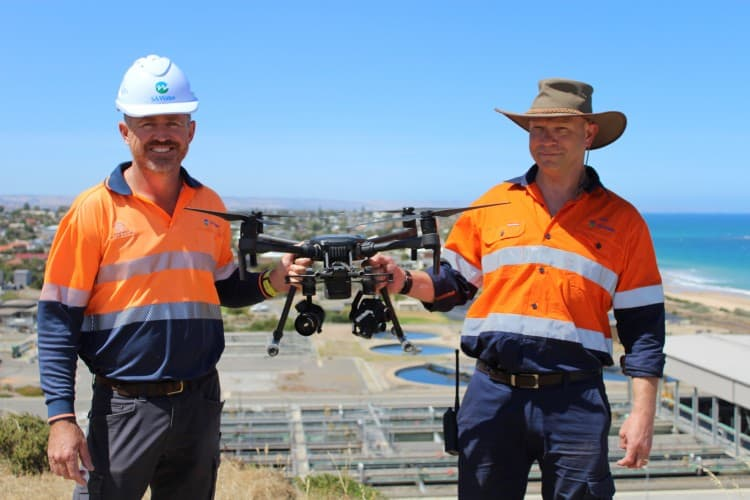 SA Water Coordinator Survey Services Daniel Haines and Digital Technology Specialist Paul Hawthorne with the utility's Matrice 210 drone at their Christies Beach Wastewater Treatment Plant